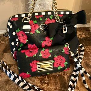 Betsey Johnson shoulder bag and wallet set!